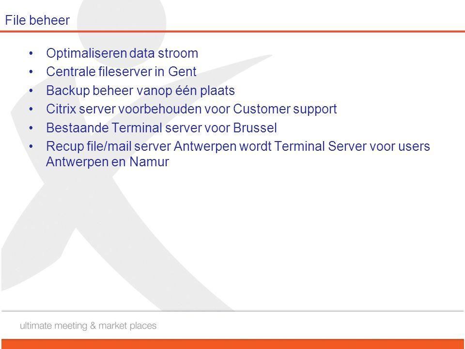 File beheer •Optimaliseren data stroom •Centrale fileserver in Gent •Backup beheer vanop één plaats •Citrix server voorbehouden voor Customer support
