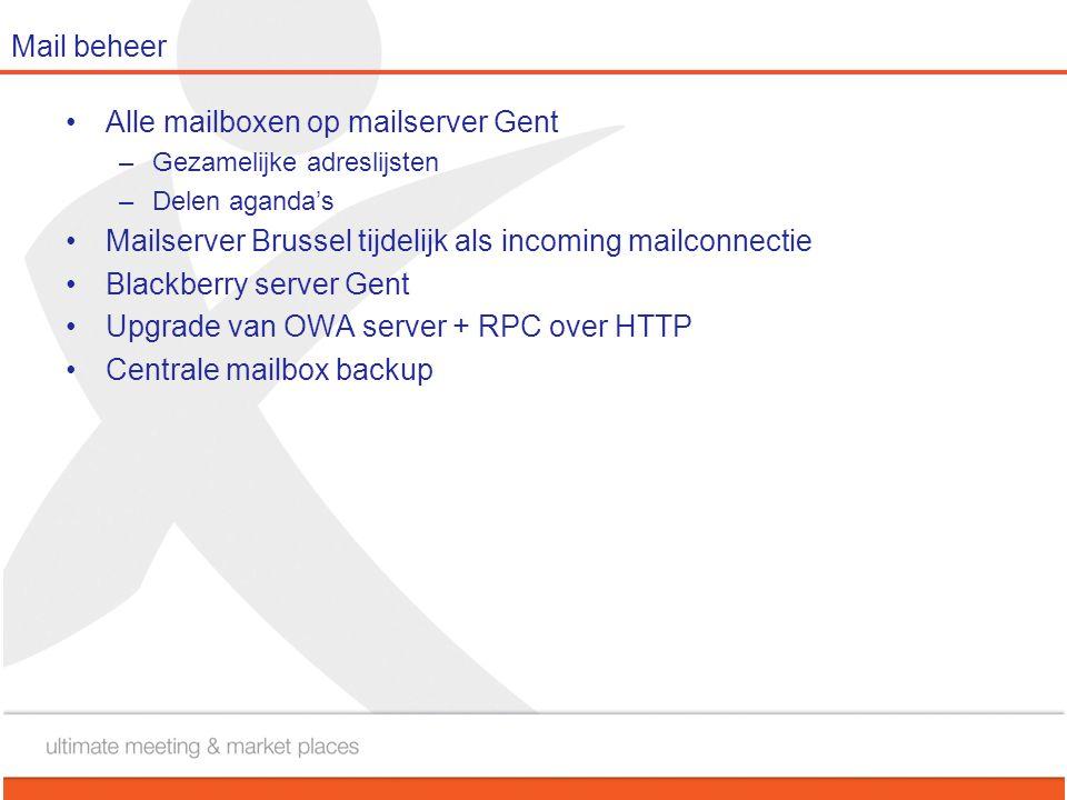 Mail beheer •Alle mailboxen op mailserver Gent –Gezamelijke adreslijsten –Delen aganda's •Mailserver Brussel tijdelijk als incoming mailconnectie •Bla
