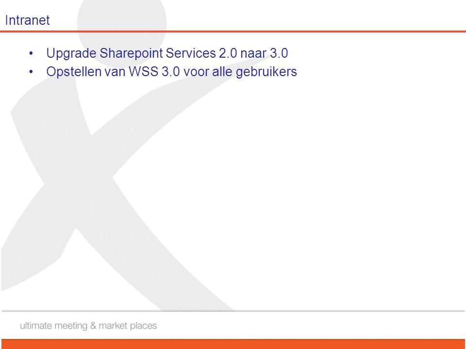 Intranet •Upgrade Sharepoint Services 2.0 naar 3.0 •Opstellen van WSS 3.0 voor alle gebruikers