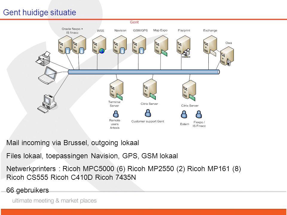 Gent huidige situatie Mail incoming via Brussel, outgoing lokaal Files lokaal, toepassingen Navision, GPS, GSM lokaal Netwerkprinters : Ricoh MPC5000 (6) Ricoh MP2550 (2) Ricoh MP161 (8) Ricoh CS555 Ricoh C410D Ricoh 7435N 66 gebruikers