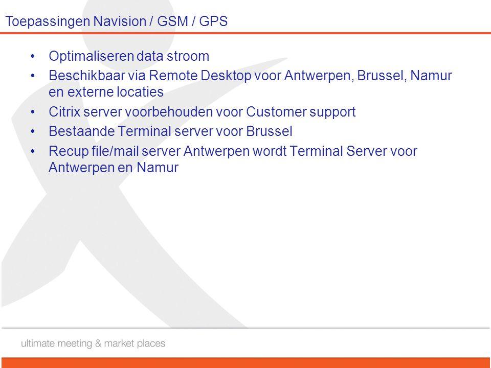 Toepassingen Navision / GSM / GPS •Optimaliseren data stroom •Beschikbaar via Remote Desktop voor Antwerpen, Brussel, Namur en externe locaties •Citri