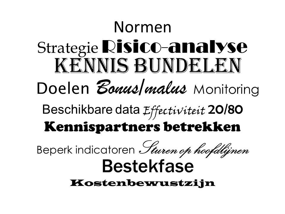 Normen Strategie Risico-analyse Kennis bundelen Doelen Bonus/malus Monitoring Beschikbare data Effectiviteit 20/80 Kennispartners betrekken Beperk indicatoren Sturen op hoofdlijnen Bestekfase Kostenbewustzijn