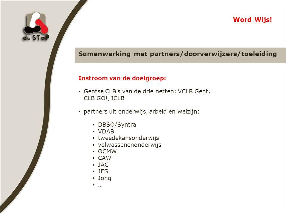 Samenwerking met partners/doorverwijzers/toeleiding Word Wijs.