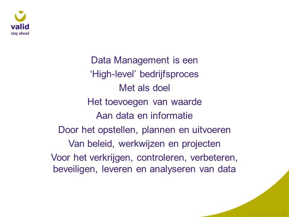 Data Management is een 'High-level' bedrijfsproces Met als doel Het toevoegen van waarde Aan data en informatie Door het opstellen, plannen en uitvoer