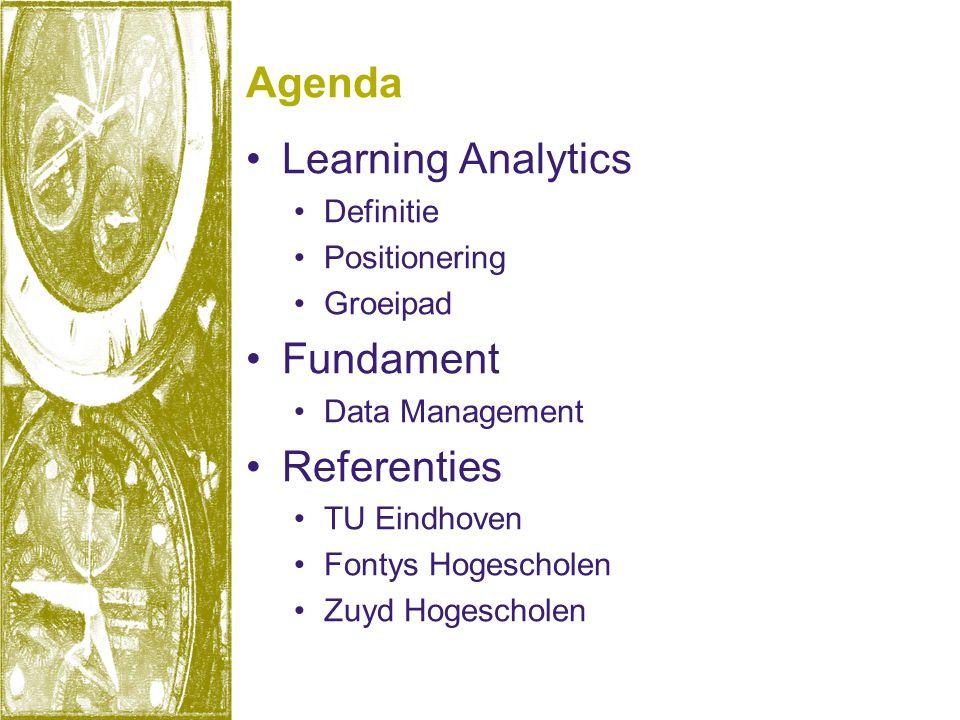 Agenda •Learning Analytics •Definitie •Positionering •Groeipad •Fundament •Data Management •Referenties •TU Eindhoven •Fontys Hogescholen •Zuyd Hogesc
