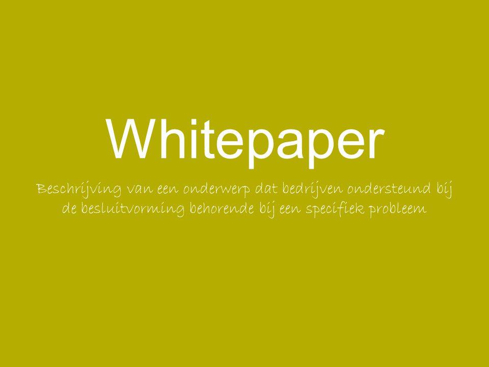 Beschrijving van een onderwerp dat bedrijven ondersteund bij de besluitvorming behorende bij een specifiek probleem Whitepaper