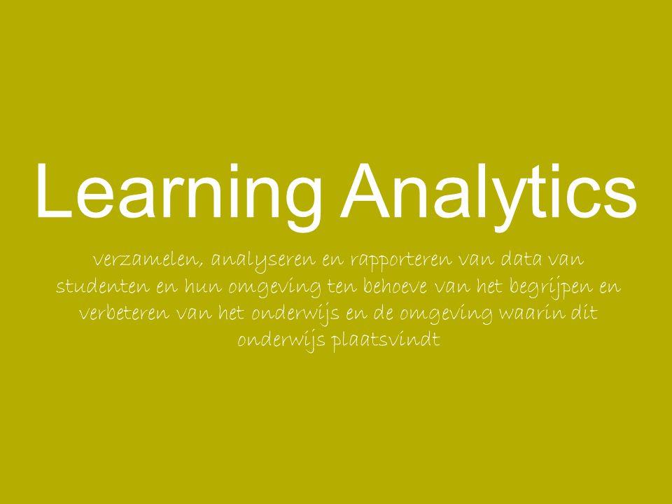 Definitie Learning Analytics betreft het verzamelen, analyseren en interpreteren van data over studenten in het onderwijs.