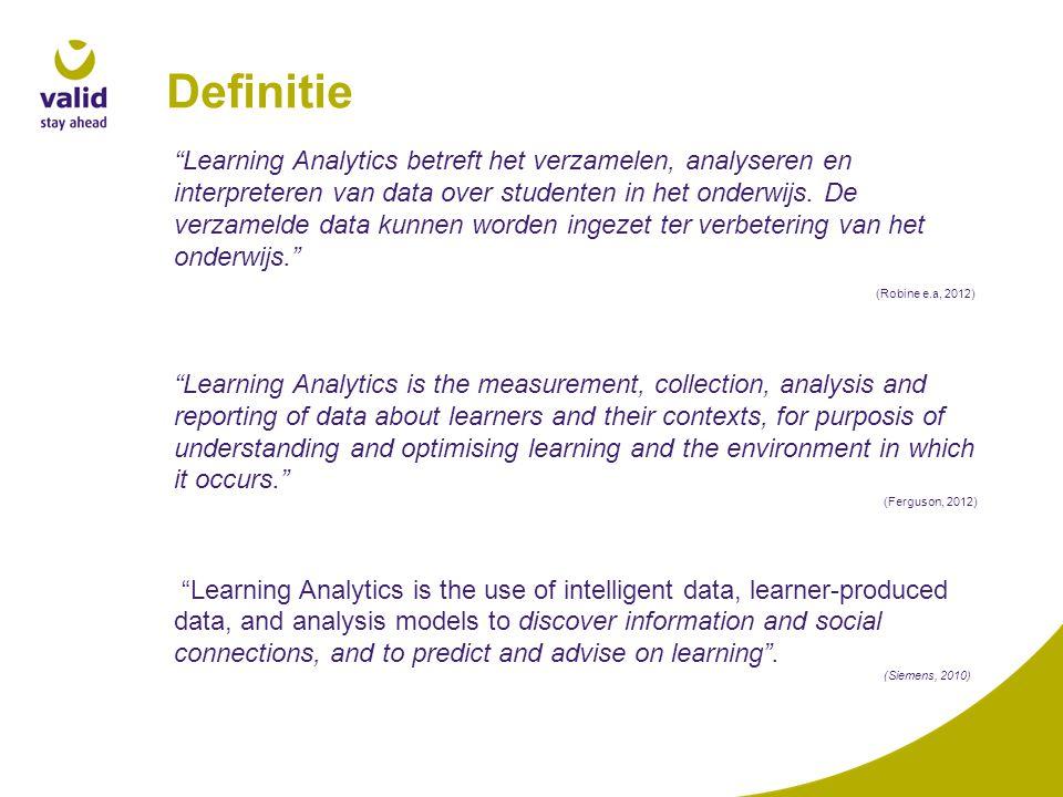 """Definitie """"Learning Analytics betreft het verzamelen, analyseren en interpreteren van data over studenten in het onderwijs. De verzamelde data kunnen"""