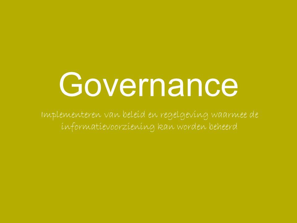 Het waarborgen van de onderlinge samenhang van de wijze van sturen, beheersen en toezicht houden van organisaties, gericht op een efficiënte en effectieve realisatie van beleidsdoelstellingen, alsmede daarover op een open wijze communiceren en verantwoording afleggen ten behoeve van de belanghebbenden.