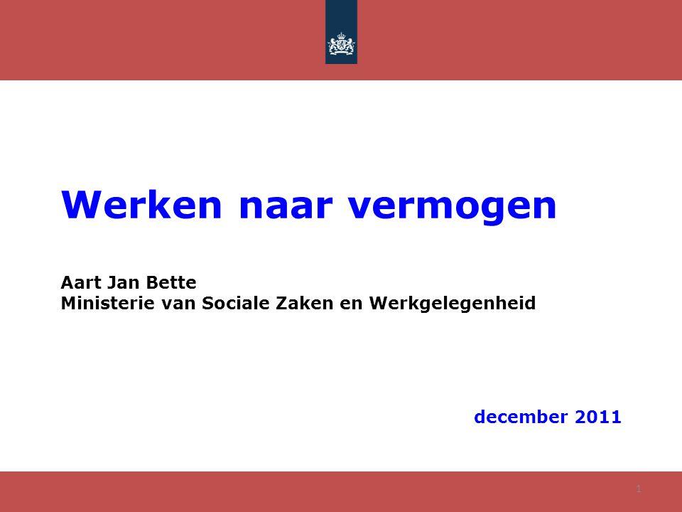 Werken naar vermogen Aart Jan Bette Ministerie van Sociale Zaken en Werkgelegenheid december 2011 1