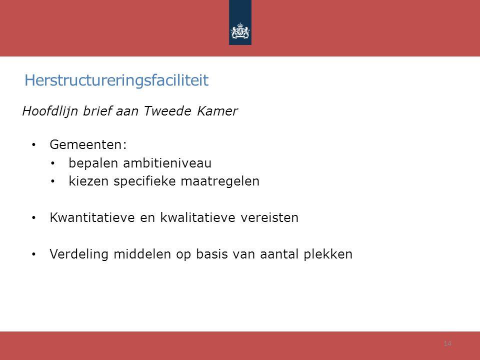 Herstructureringsfaciliteit Hoofdlijn brief aan Tweede Kamer • Gemeenten: • bepalen ambitieniveau • kiezen specifieke maatregelen • Kwantitatieve en k