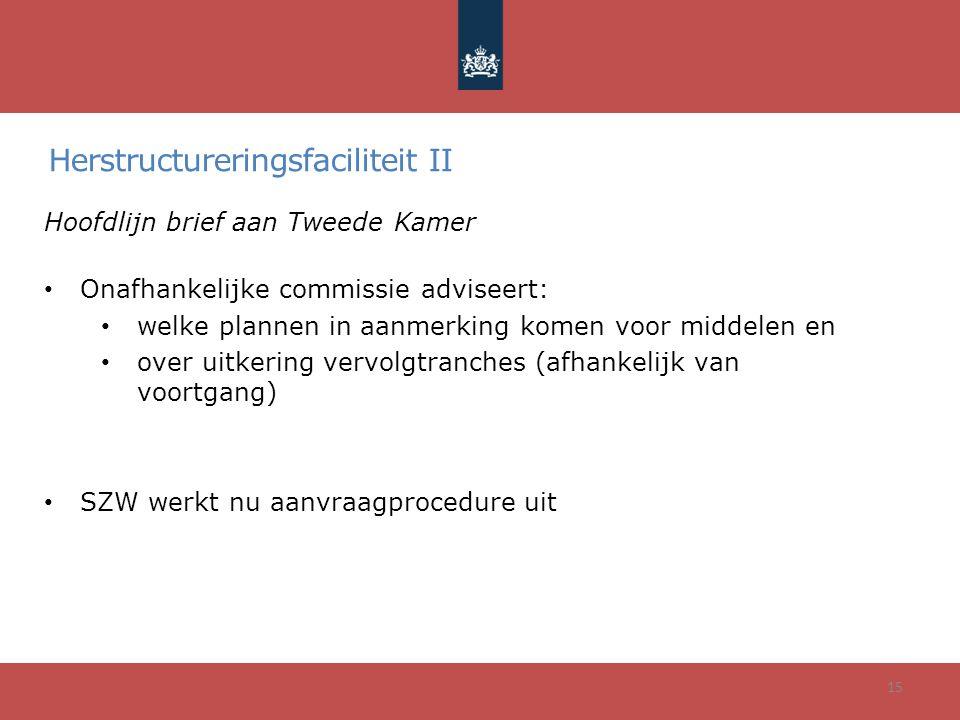 Herstructureringsfaciliteit II Hoofdlijn brief aan Tweede Kamer • Onafhankelijke commissie adviseert: • welke plannen in aanmerking komen voor middele