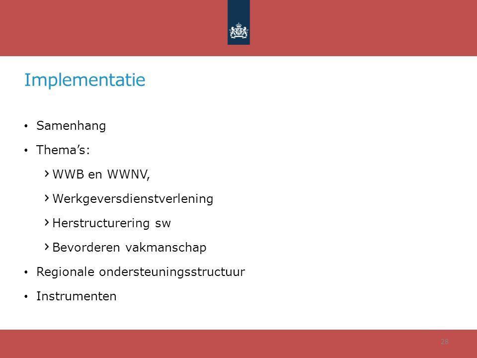 Implementatie • Samenhang • Thema's: WWB en WWNV, Werkgeversdienstverlening Herstructurering sw Bevorderen vakmanschap • Regionale ondersteuningsstruc