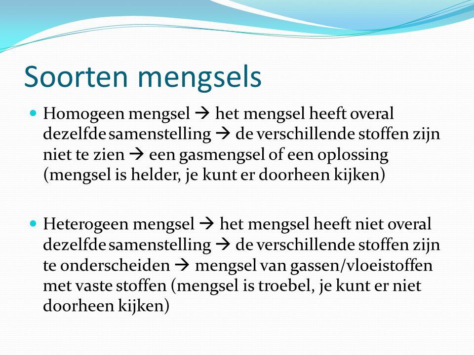 Soorten mengsels  Homogeen mengsel  het mengsel heeft overal dezelfde samenstelling  de verschillende stoffen zijn niet te zien  een gasmengsel of