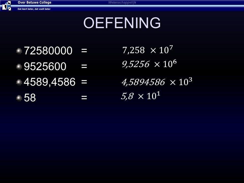 OEFENING 72580000 = 9525600 = 4589,4586 = 58 = Wetenschappelijk