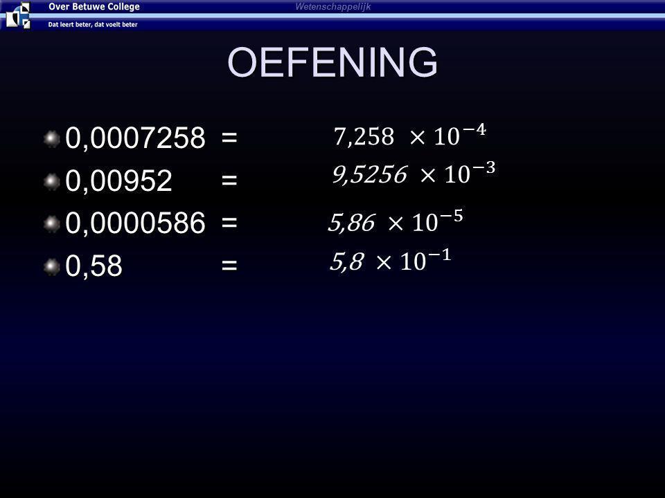 OEFENING 0,0007258 = 0,00952 = 0,0000586 = 0,58 = Wetenschappelijk