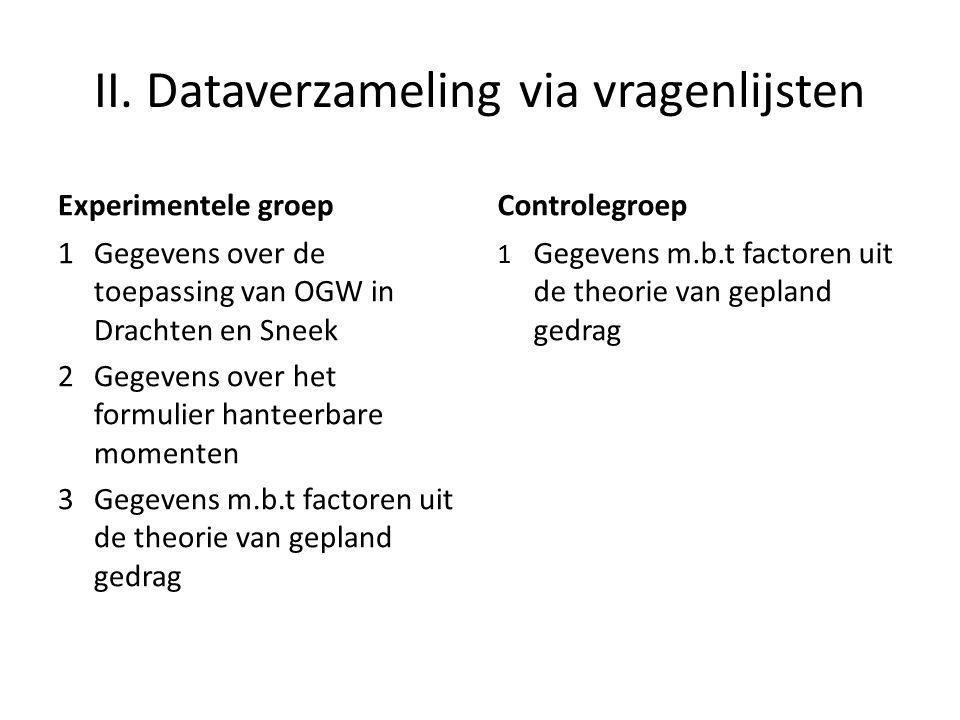 II. Dataverzameling via vragenlijsten Experimentele groep 1 Gegevens over de toepassing van OGW in Drachten en Sneek 2Gegevens over het formulier hant