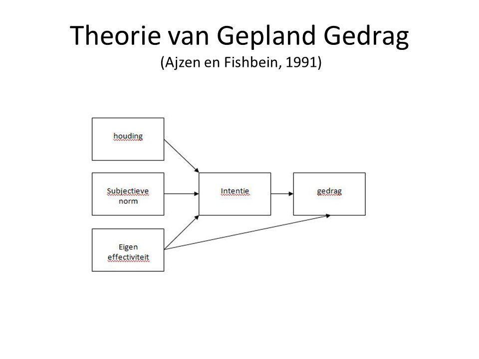 Theorie van Gepland Gedrag (Ajzen en Fishbein, 1991)