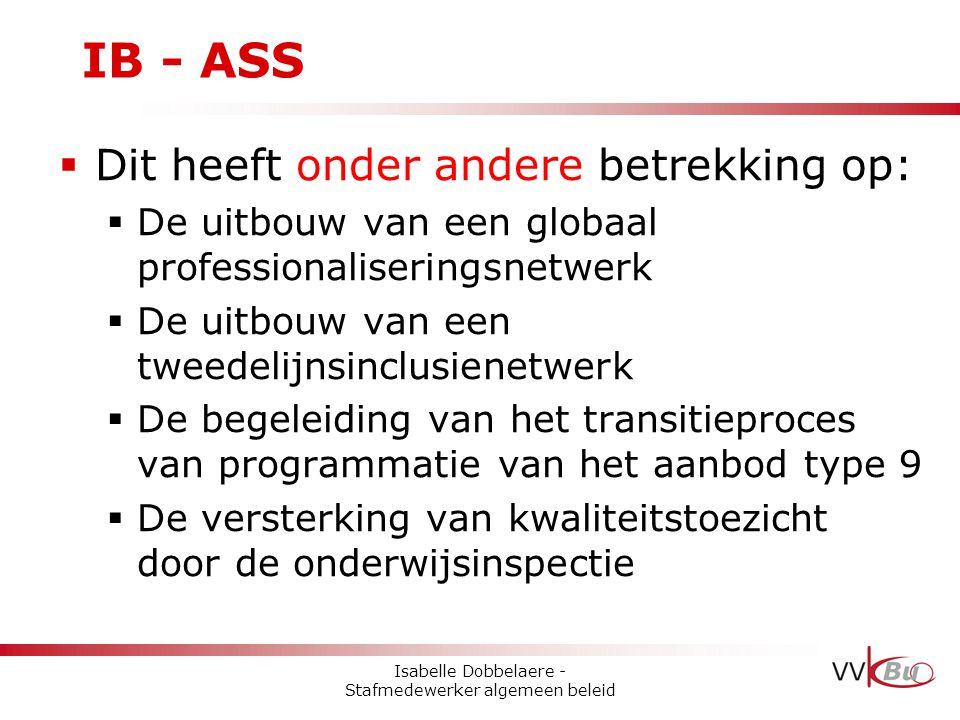 IB - ASS  Dit heeft onder andere betrekking op:  De uitbouw van een globaal professionaliseringsnetwerk  De uitbouw van een tweedelijnsinclusienetw