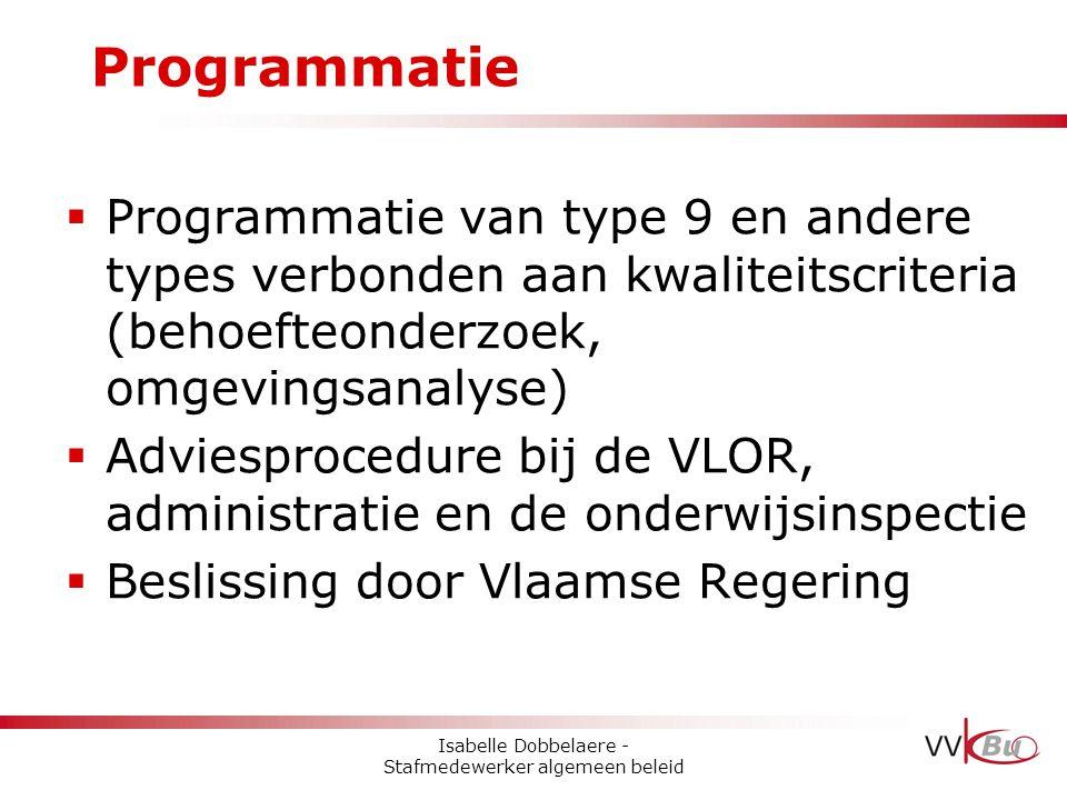 Programmatie  Programmatie van type 9 en andere types verbonden aan kwaliteitscriteria (behoefteonderzoek, omgevingsanalyse)  Adviesprocedure bij de