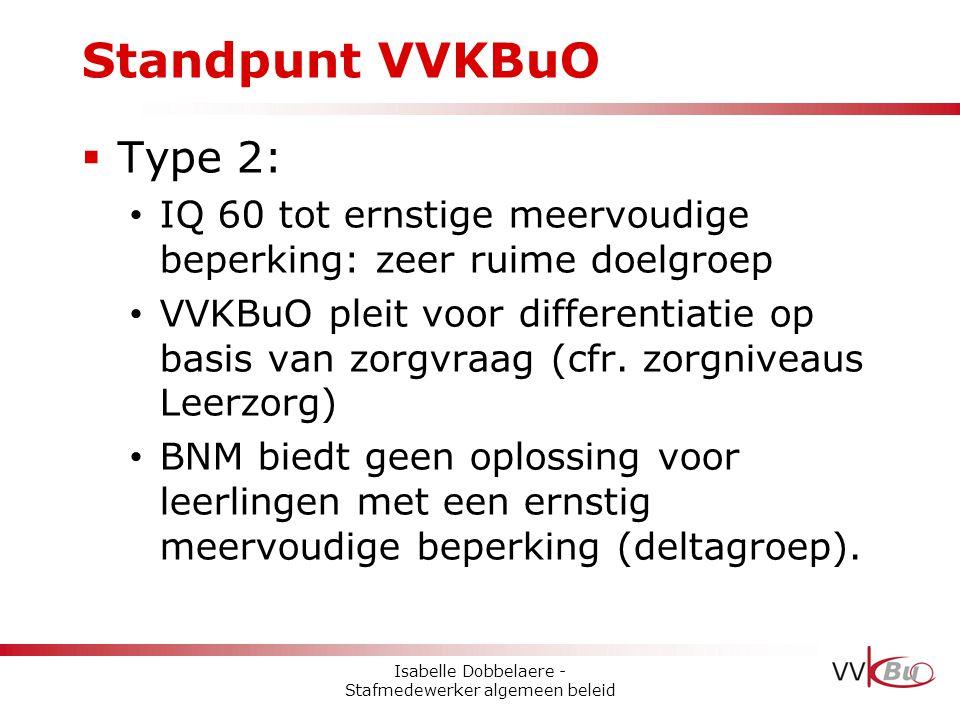 Standpunt VVKBuO  Type 2: • IQ 60 tot ernstige meervoudige beperking: zeer ruime doelgroep • VVKBuO pleit voor differentiatie op basis van zorgvraag