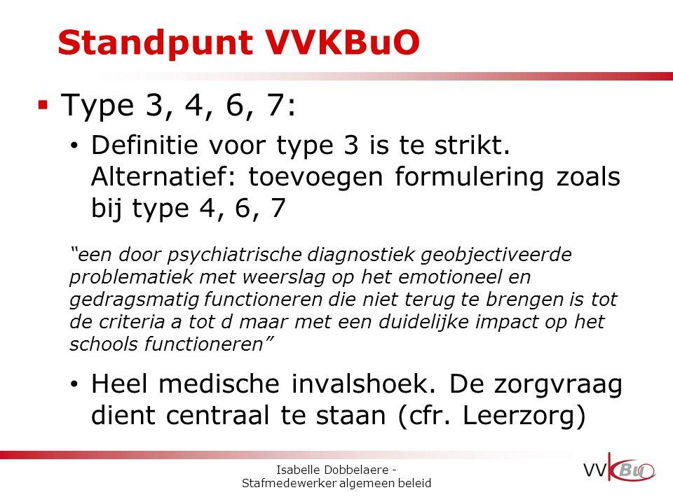"""Standpunt VVKBuO  Type 3, 4, 6, 7: • Definitie voor type 3 is te strikt. Alternatief: toevoegen formulering zoals bij type 4, 6, 7 """"een door psychiat"""