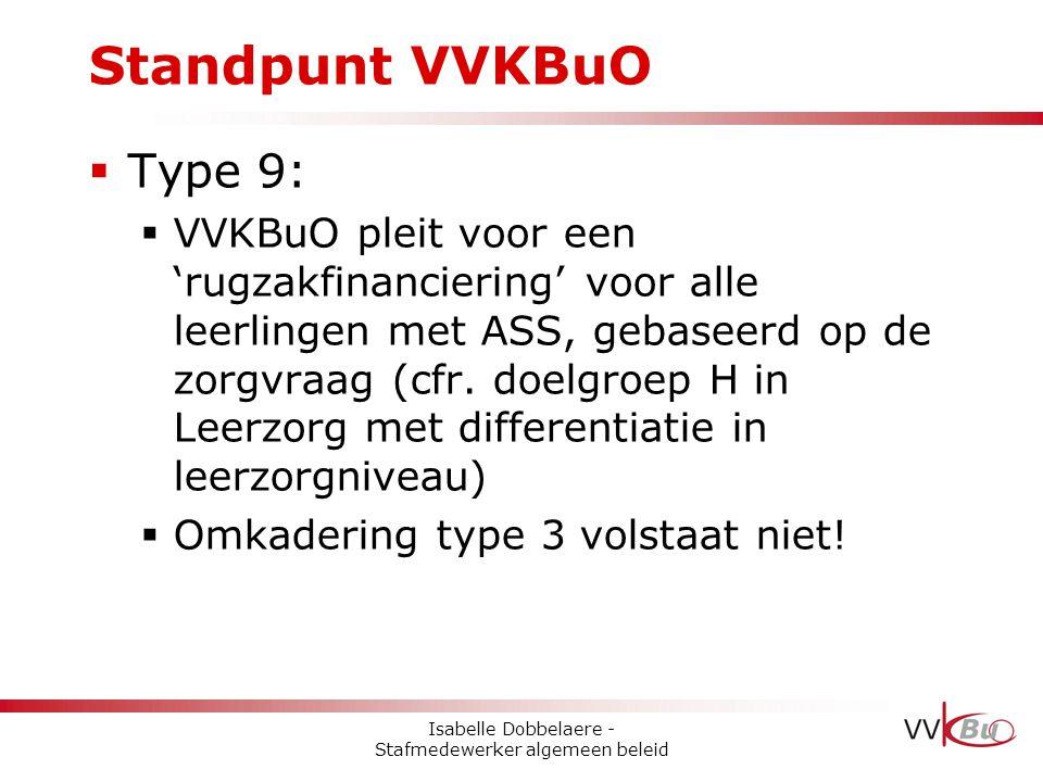 Standpunt VVKBuO  Type 9:  VVKBuO pleit voor een 'rugzakfinanciering' voor alle leerlingen met ASS, gebaseerd op de zorgvraag (cfr. doelgroep H in L
