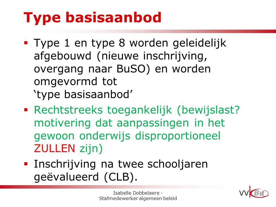  Type 1 en type 8 worden geleidelijk afgebouwd (nieuwe inschrijving, overgang naar BuSO) en worden omgevormd tot 'type basisaanbod'  Rechtstreeks to