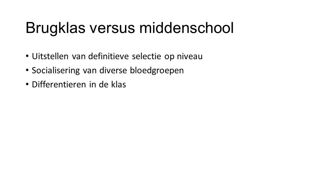 Brugklas versus middenschool • Uitstellen van definitieve selectie op niveau • Socialisering van diverse bloedgroepen • Differentieren in de klas