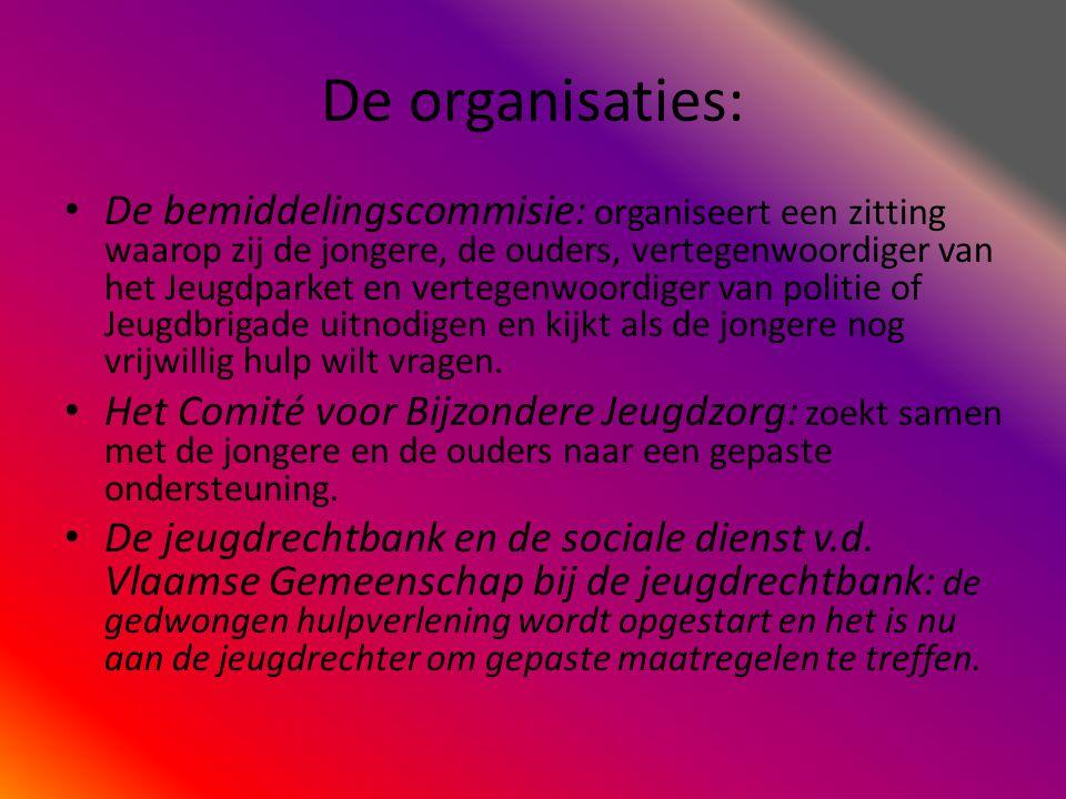 De organisaties: • De bemiddelingscommisie: organiseert een zitting waarop zij de jongere, de ouders, vertegenwoordiger van het Jeugdparket en vertege