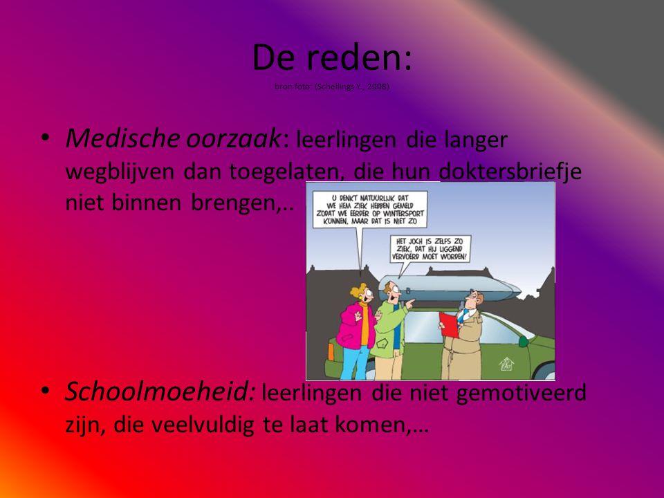 De reden: bron foto: (Schellings Y., 2008) • Medische oorzaak: leerlingen die langer wegblijven dan toegelaten, die hun doktersbriefje niet binnen bre