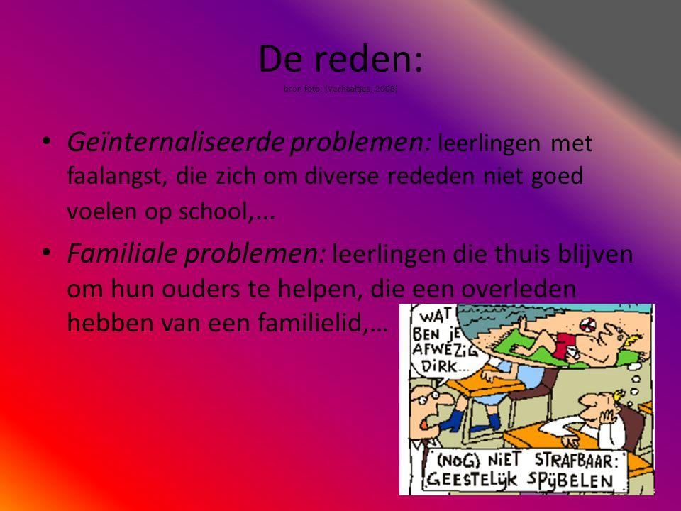De reden: bron foto: (Verhaaltjes, 2008) • Geïnternaliseerde problemen: leerlingen met faalangst, die zich om diverse rededen niet goed voelen op scho