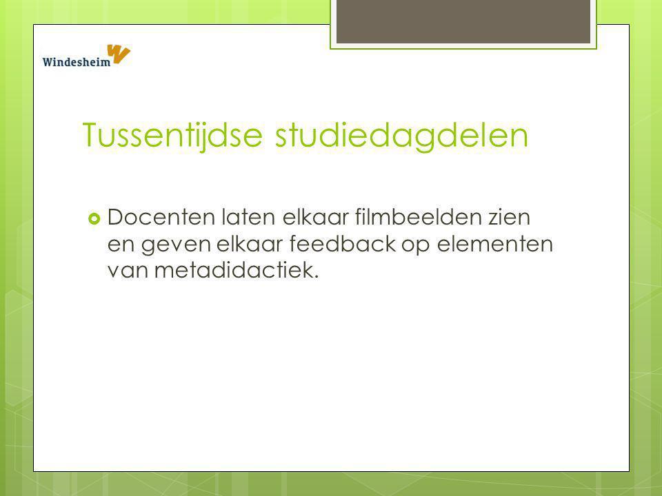 Tussentijdse studiedagdelen  Docenten laten elkaar filmbeelden zien en geven elkaar feedback op elementen van metadidactiek.