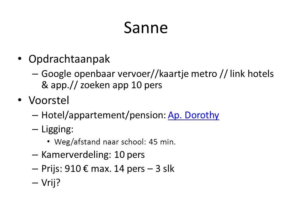 Sanne • Opdrachtaanpak – Google openbaar vervoer//kaartje metro // link hotels & app.// zoeken app 10 pers • Voorstel – Hotel/appartement/pension: Ap.