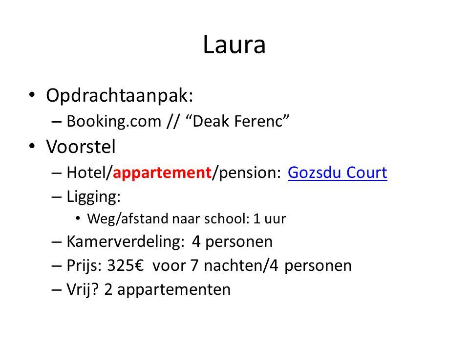 Laura • Opdrachtaanpak: – Booking.com // Deak Ferenc • Voorstel – Hotel/appartement/pension: Gozsdu CourtGozsdu Court – Ligging: • Weg/afstand naar school: 1 uur – Kamerverdeling: 4 personen – Prijs: 325€ voor 7 nachten/4 personen – Vrij.