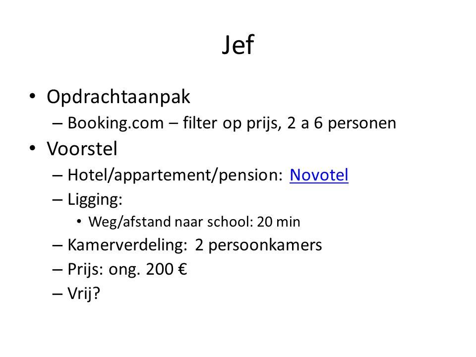 Jef • Opdrachtaanpak – Booking.com – filter op prijs, 2 a 6 personen • Voorstel – Hotel/appartement/pension: NovotelNovotel – Ligging: • Weg/afstand naar school: 20 min – Kamerverdeling: 2 persoonkamers – Prijs: ong.