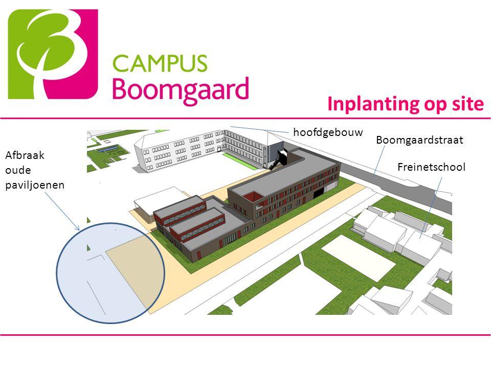 Inplanting op site Boomgaardstraat Freinetschool hoofdgebouw Afbraak oude paviljoenen