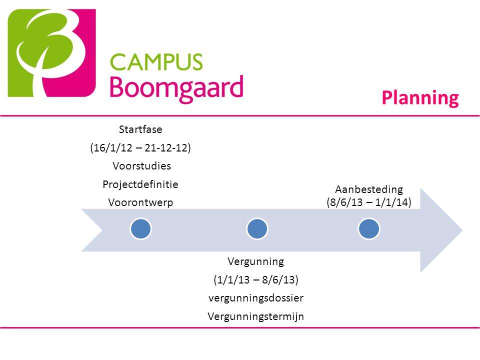 Planning Startfase (16/1/12 – 21-12-12) Voorstudies Projectdefinitie Voorontwerp Vergunning (1/1/13 – 8/6/13) vergunningsdossier Vergunningstermijn Aa