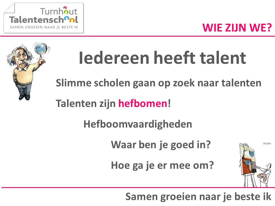 Iedereen heeft talent Slimme scholen gaan op zoek naar talenten Talenten zijn hefbomen! Hefboomvaardigheden Waar ben je goed in? Hoe ga je er mee om?