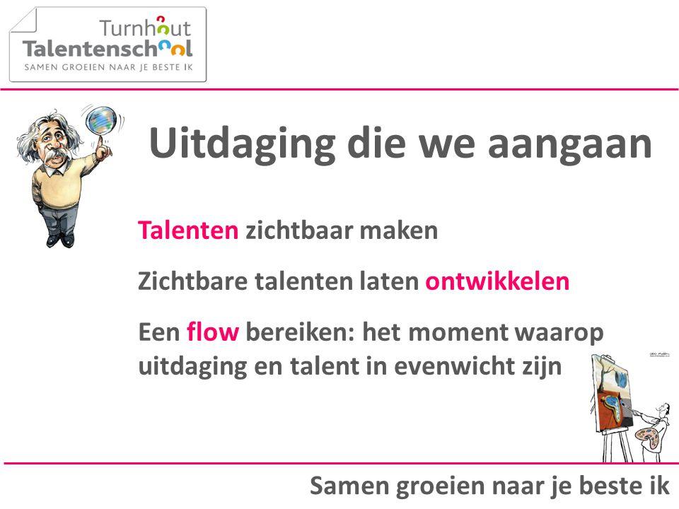 Uitdaging die we aangaan Talenten zichtbaar maken Zichtbare talenten laten ontwikkelen Een flow bereiken: het moment waarop uitdaging en talent in eve