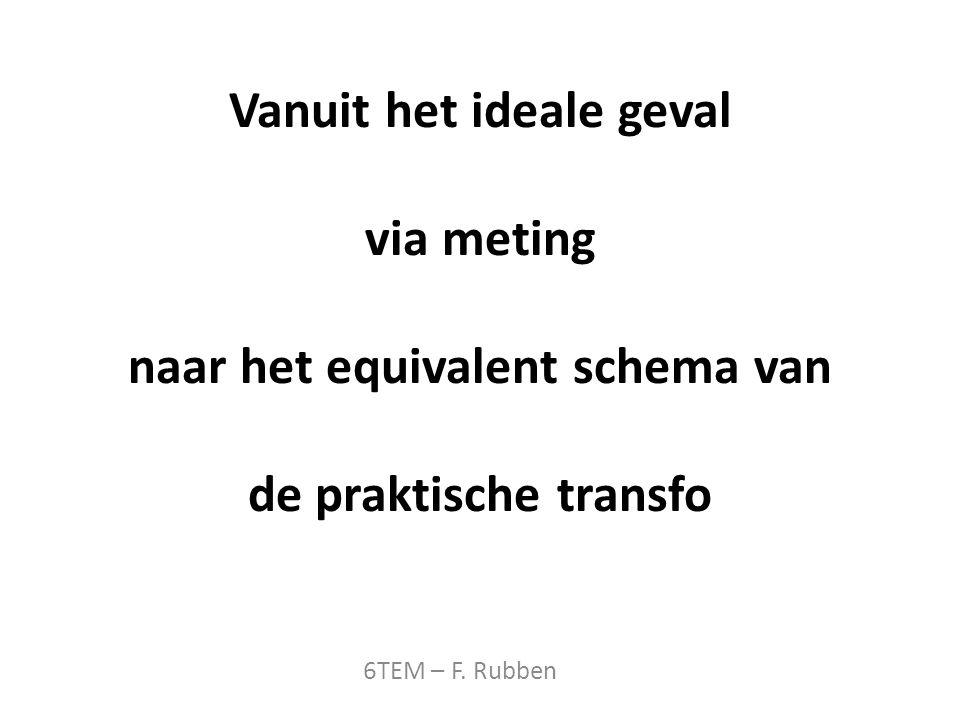 Vanuit het ideale geval via meting naar het equivalent schema van de praktische transfo 6TEM – F.