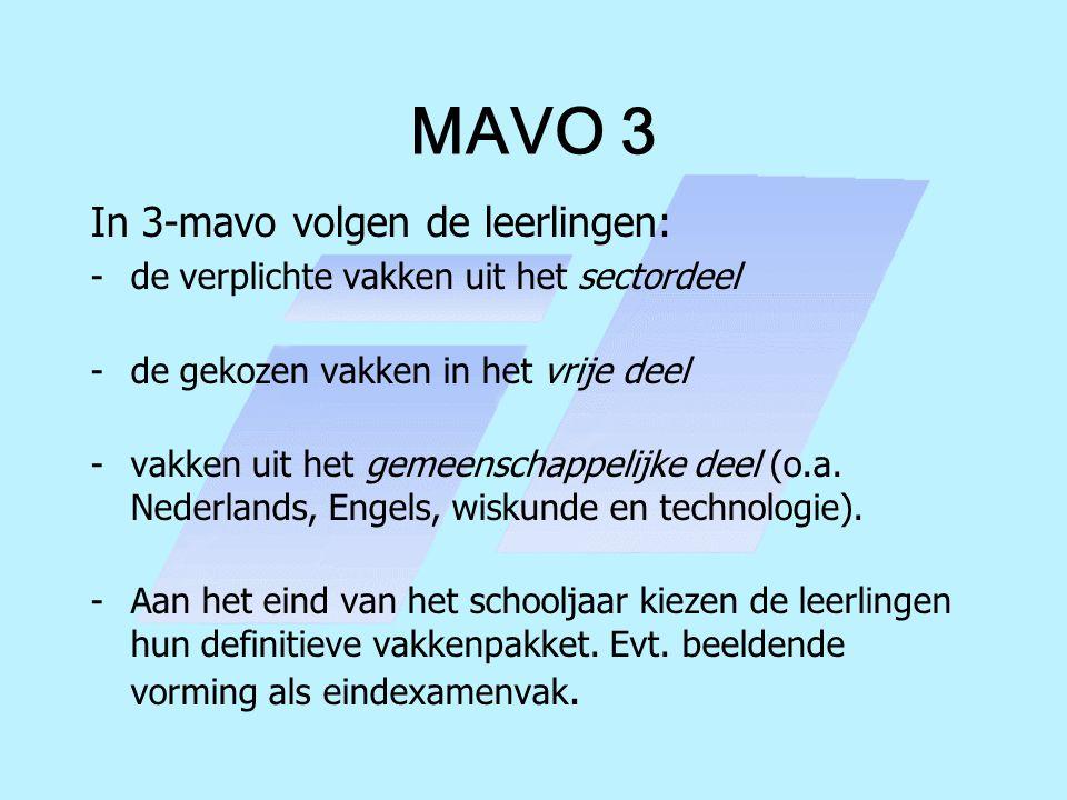 MAVO 3 In 3-mavo volgen de leerlingen: -de verplichte vakken uit het sectordeel -de gekozen vakken in het vrije deel -vakken uit het gemeenschappelijk