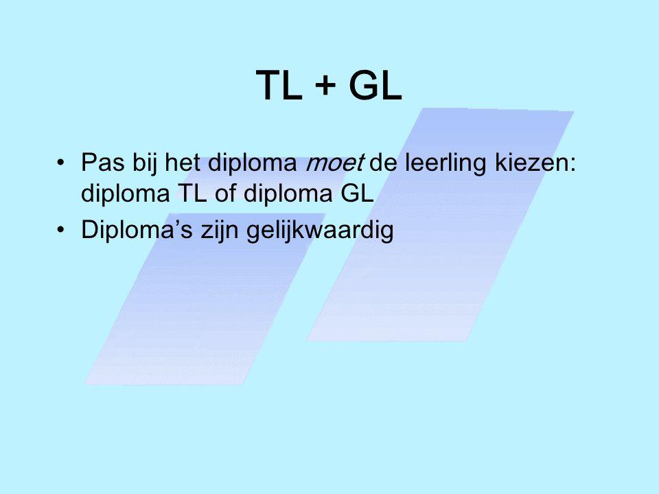 TL + GL •Pas bij het diploma moet de leerling kiezen: diploma TL of diploma GL •Diploma's zijn gelijkwaardig