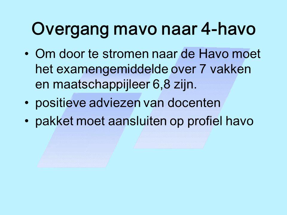 Overgang mavo naar 4-havo •Om door te stromen naar de Havo moet het examengemiddelde over 7 vakken en maatschappijleer 6,8 zijn. •positieve adviezen v