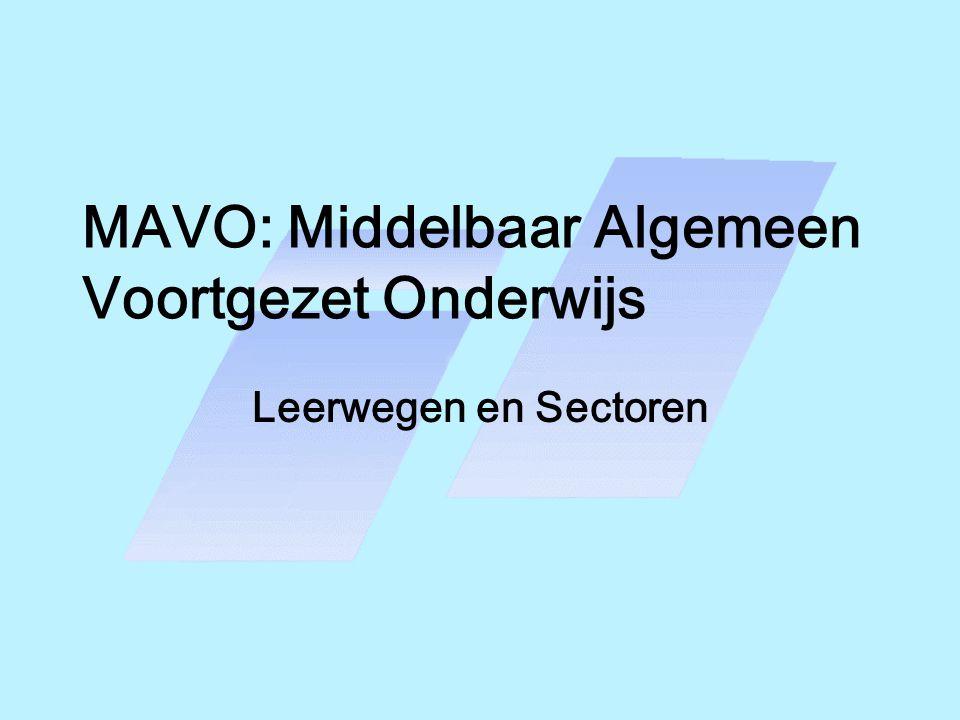 MAVO 3 In 3-mavo volgen de leerlingen: -de verplichte vakken uit het sectordeel -de gekozen vakken in het vrije deel -vakken uit het gemeenschappelijke deel (o.a.