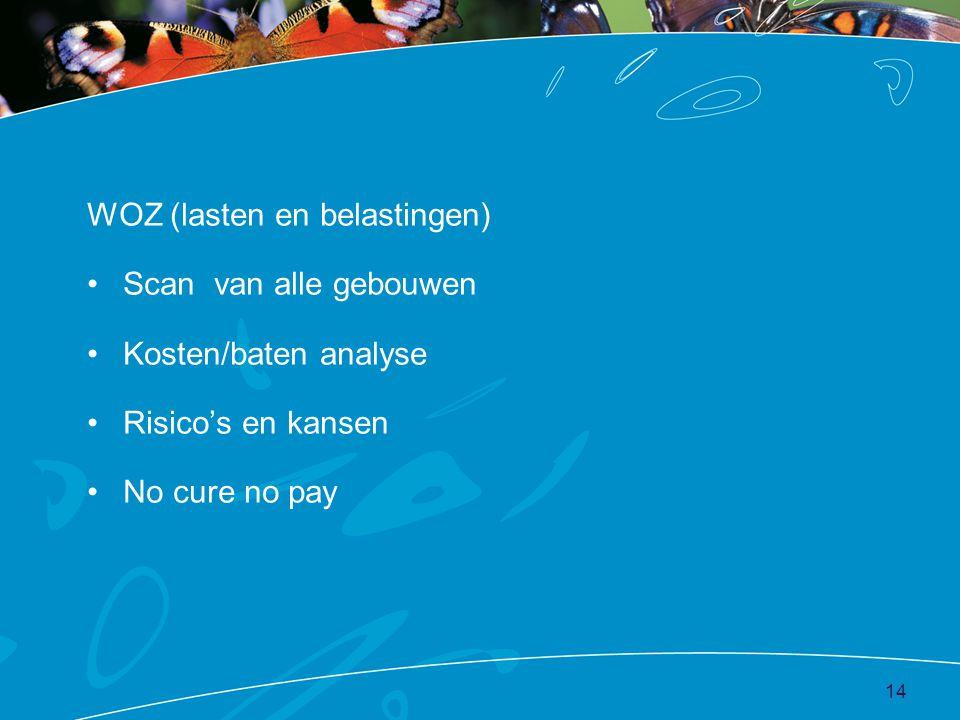 WOZ (lasten en belastingen) •Scan van alle gebouwen •Kosten/baten analyse •Risico's en kansen •No cure no pay 14