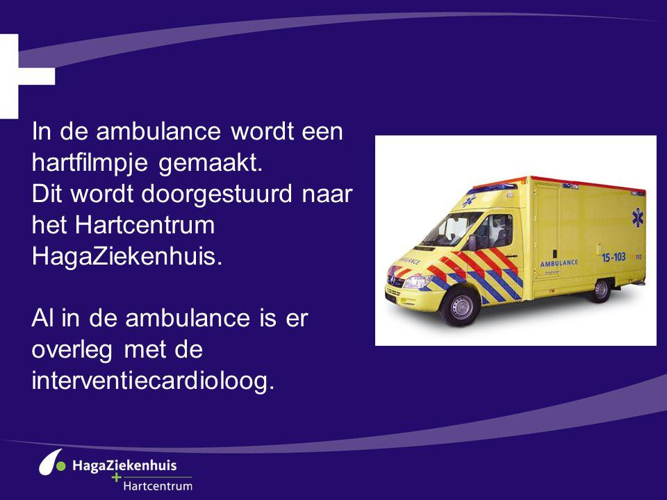 In de ambulance wordt een hartfilmpje gemaakt. Dit wordt doorgestuurd naar het Hartcentrum HagaZiekenhuis. Al in de ambulance is er overleg met de int