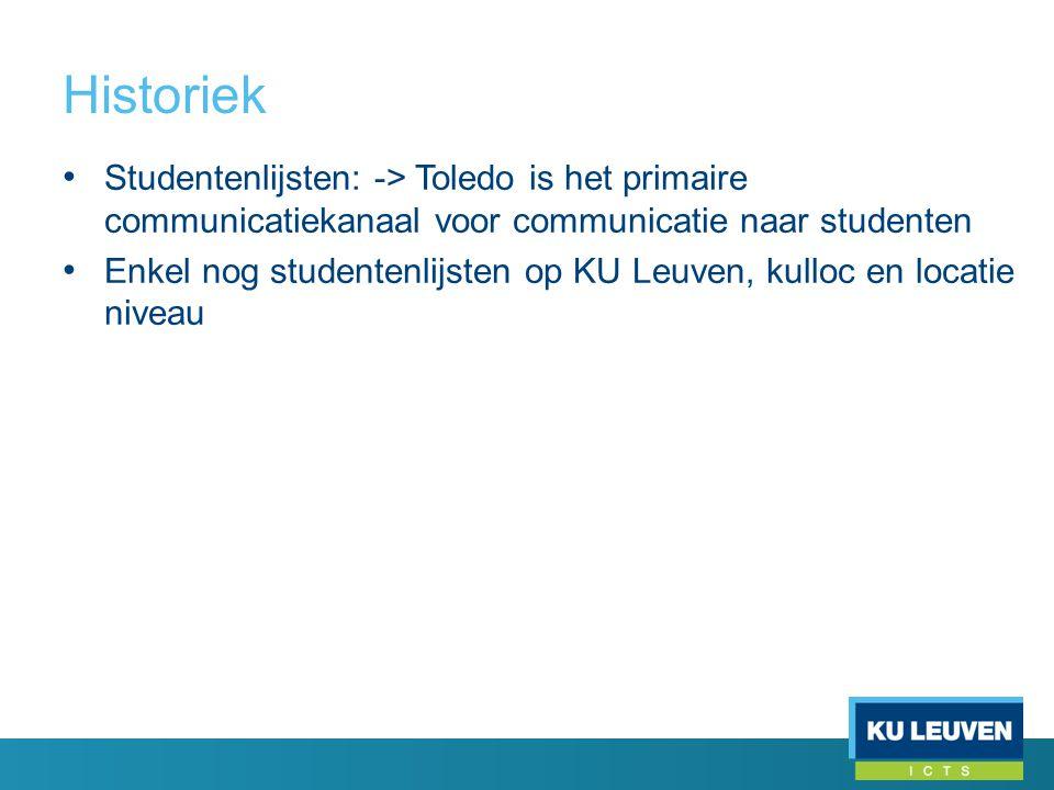 Historiek • Studentenlijsten: -> Toledo is het primaire communicatiekanaal voor communicatie naar studenten • Enkel nog studentenlijsten op KU Leuven, kulloc en locatie niveau