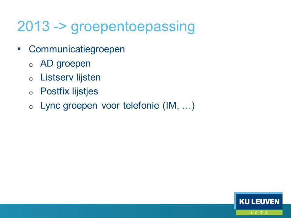 2013 -> groepentoepassing • Communicatiegroepen o AD groepen o Listserv lijsten o Postfix lijstjes o Lync groepen voor telefonie (IM, …)