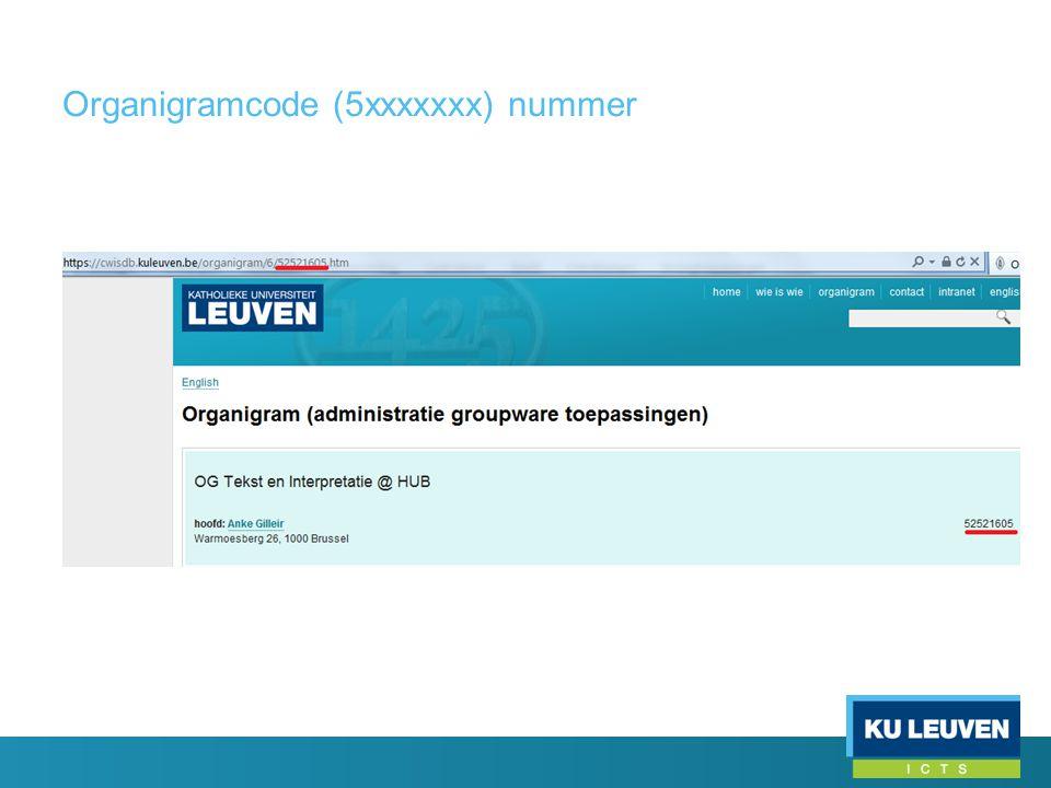Organigramcode (5xxxxxxx) nummer